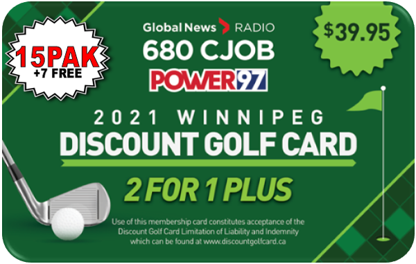 2021 Winnipeg Discount Golf Card (Fifteen)